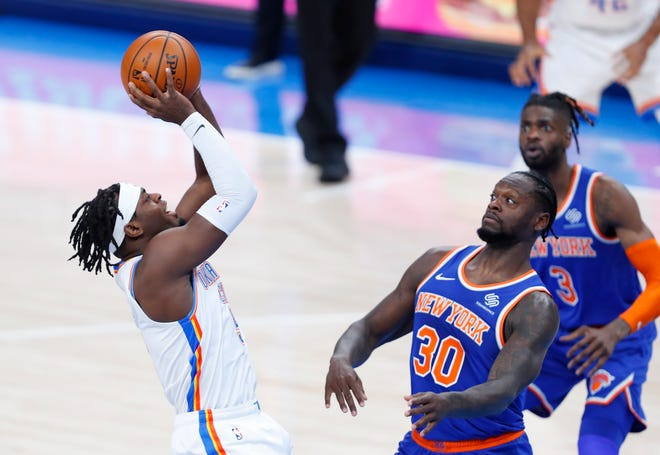 Luguentz Dort initiated the Thunder's offense against the Knicks with Shai Gilgeous-Alexander out.