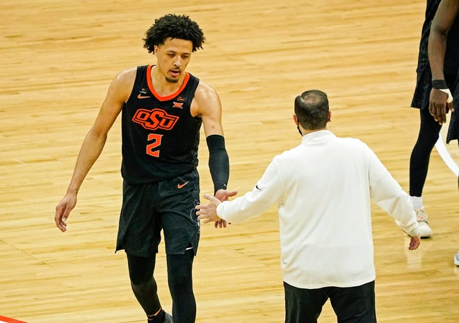 Oklahoma State will be a dangerous team in the NCAA Tournament because of superstar Cade Cunningham, seen shaking hands with Baylor coach Scott Drew during the Big 12 tournament. But the Cowboys added a little motivation Sunday when they were given a No. 4 seed. [JAY BIGGERSTAFF/USA TODAY SPORTS]