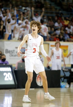 Reid Lovelace (3) led Crossings Christian past Beggs in the Class 3A state championship game on March 13 at State Fair Arena.