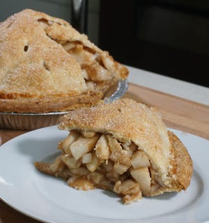 Gregg's Apple Pie has 5 pounds of fruit in every pie.