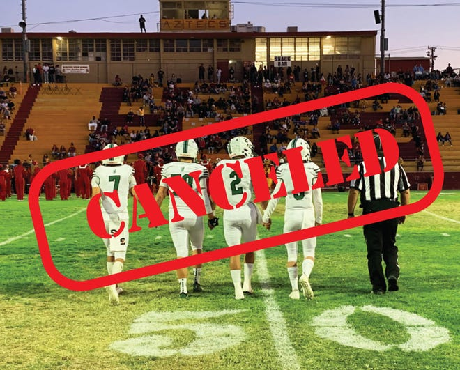 The Burroughs High School football team captains take the field in September 2019 against Barstow. The football season for 2020-21 has been canceled for the Burros.