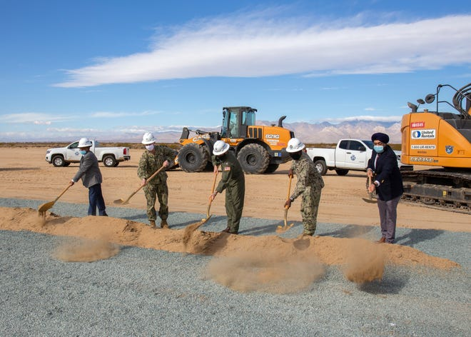 Participants in the ceremonial groundbreaking held March 9 for the third construction project of the $2.3B Earthquake Recovery Program at the site of the new South Airfield on Naval Air Weapons Station China Lake included Ridgecrest Vice Mayor Solomon Rajaratnam; Capt. Jeremy Vaughan, NAWS China Lake Commanding Officer; Rear Adm. Scott Dillon, NAWCWD Commander; Capt. Laurie Scott, OICC CL Commanding Officer; and Manjiv Vohra, President and CEO of Environmental Chemical Corporation.