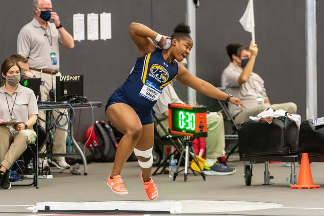 Gabby Bailey of Kent State prepares to unleash a throw while competing in the shot put at the 2021 NCAA Indoor Track and Field Championships in Fayetteville, Ark.