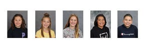 Sixth grade Cardinals of the Month, from left: Adonis Erler, Anistain Lunde, Claire Stephens, Raileyhawk Old Rock, and Jordan Fennern.