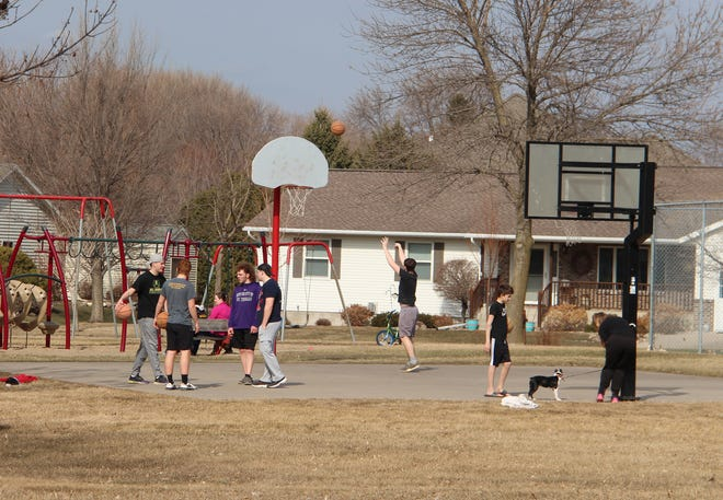 The hoops atKiefer Park draw kids in when ever the weather turns just a little bit nice, afternoons and evenings, whenever the court is dry.