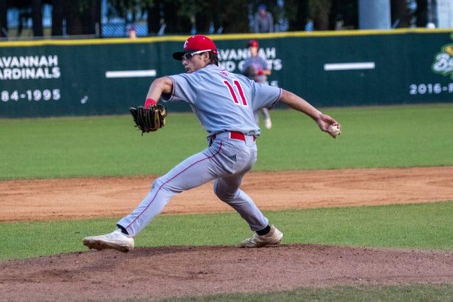 Savannah Christian starting pitcher Joey White throws against Calvary Day earlier this season at Grayson Stadium.