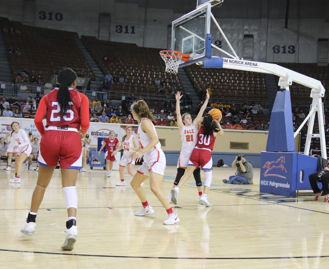 Dale's Danyn Lang (21) stands her ground against the Silo Lady Rebels Friday in the semifinals of the Class 2A State Tournament in Oklahoma City.