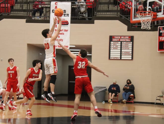 Dale's Carter Crowe hits a jumper in the second half of play against Howe Saturday in Yukon.