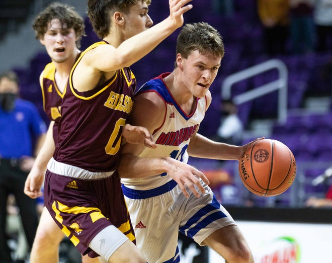 Wabaunsee junior Brayden Meseke drives to the basket against Hillsboro. Wabaunsee fell 59-50 to Hillsboro on Saturday in the Class 2A state championship.