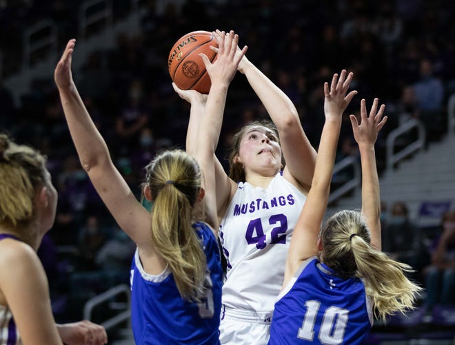 Valley Heights junior Emma Yungeberg shoots the ball against Colgan. Valley Heights lost to Colgan 40-38 on a buzzer beater during the Class 2A semifinal Friday, March 12, 2021.