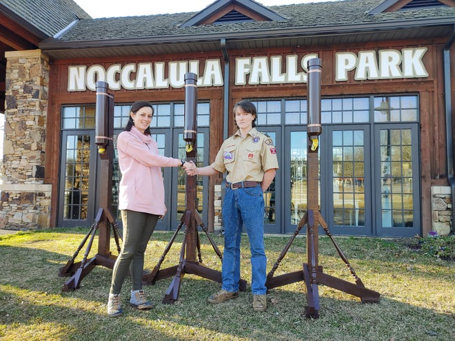Scout D.J. Lankford is pictured with Noccalula Falls Park Supervisor Christina Richardson. As his Eagle Scout project, Lankford constructed waste disposal units at the park.