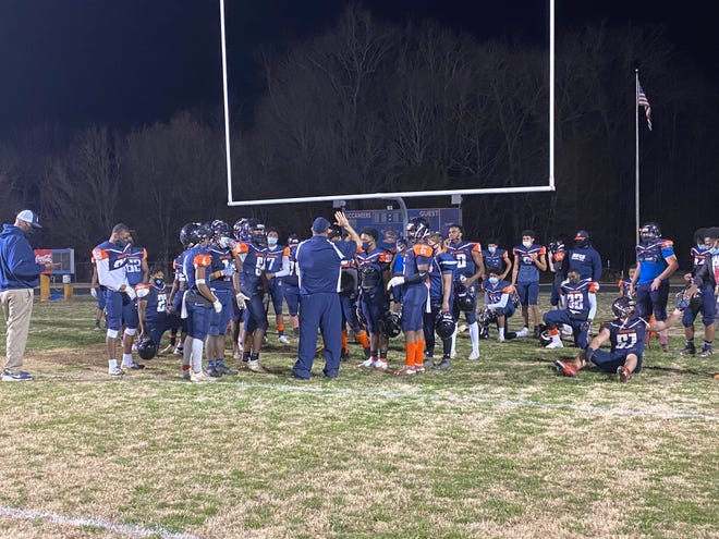 The Bartlett Yancey football team gathers for a postgame huddle following a 62-36 victory against Cummings on Friday night.