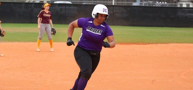 Maggie Dominick rounds third after going deep for Mount Union.