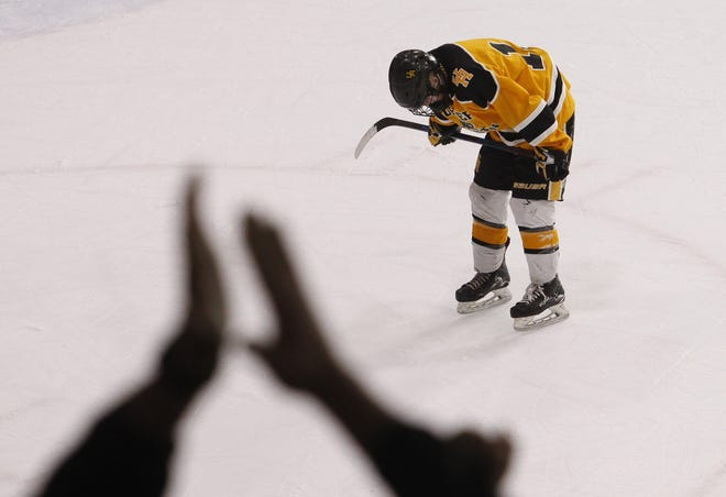 Whitty Tevonian of Upper Arlington drops his head after Lakewood St. Edward scored a goal late in the second period for a 2-0 lead in the teams' state semifinal.