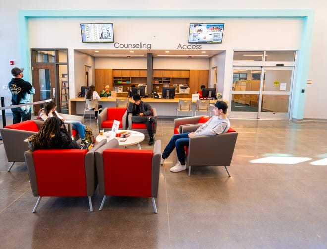 Victor Valley College students in the Student Services Center in February 2020.