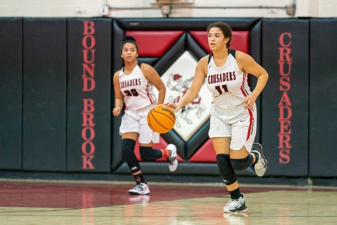 Senior Arianna McCleod (right) helped lead Bound Brook to an undefeated Skyland Mountain record for the fifth straight season