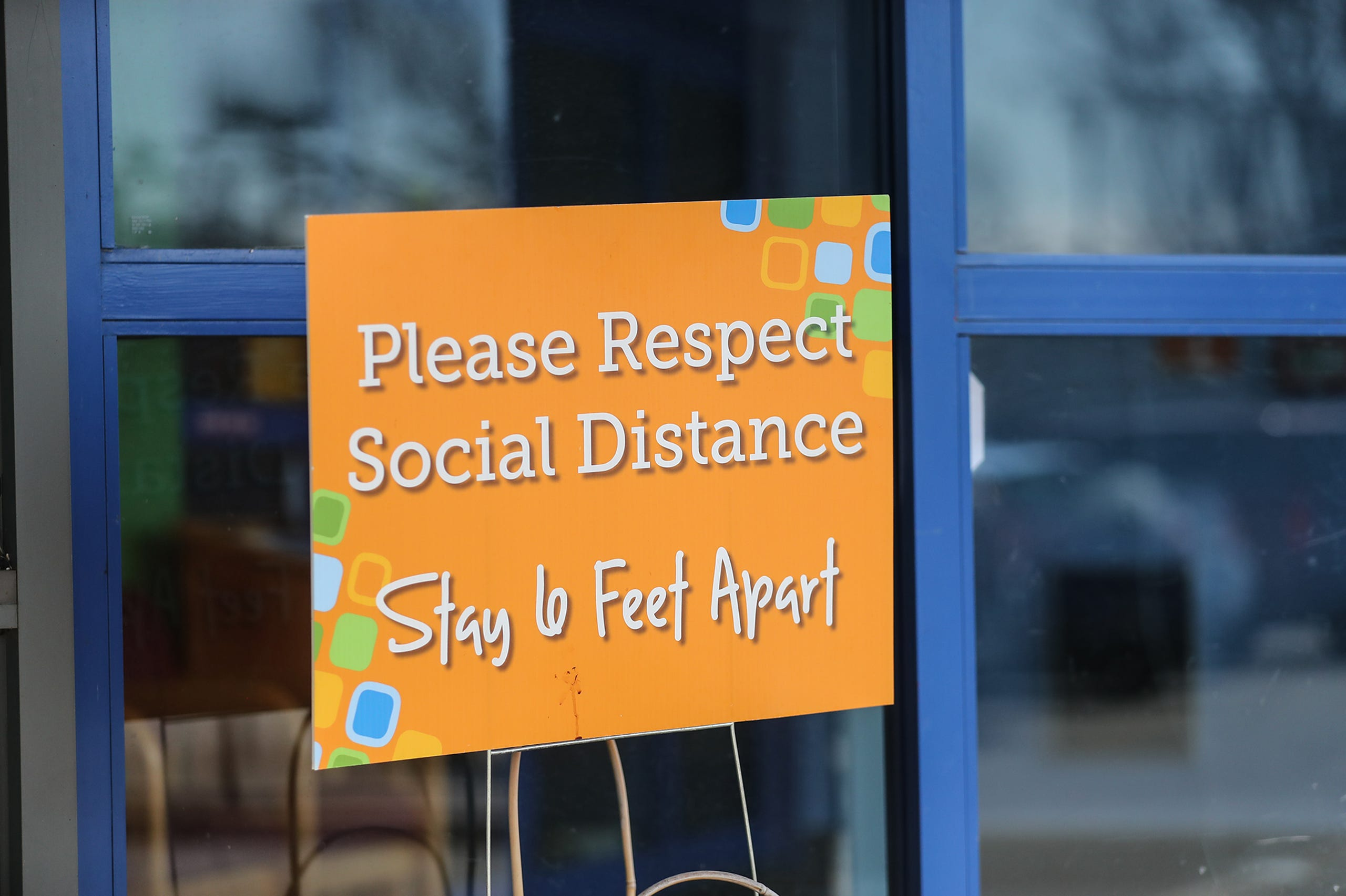 A sign advises to social distance Saturday, March 13, 2021 at the Fond du Lac Children's Museum in Fond du Lac, Wis. The museum opens today to the public after being closed because of the Covid-19 pandemic. Doug Raflik/USA TODAY NETWORK-Wisconsin