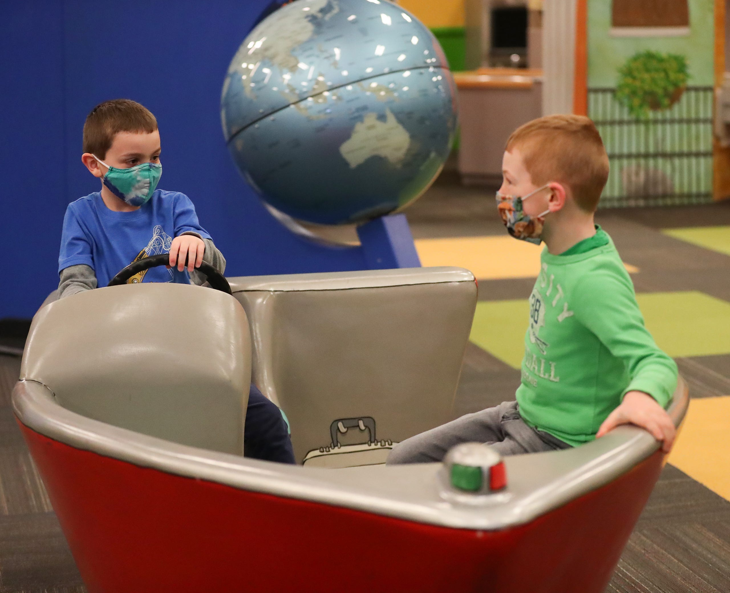 Kids play Saturday, March 13, 2021 at the Fond du Lac Children's Museum in Fond du Lac, Wis. The museum opens today to the public after being closed because of the Covid-19 pandemic. Doug Raflik/USA TODAY NETWORK-Wisconsin