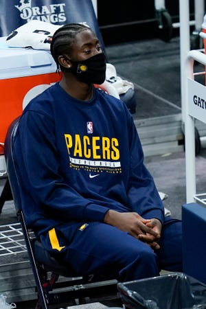 For the last few weeks, Caris LeVert has watched games from the bench, traveled and practiced with the Pacers, Wednesday, Jan. 20, 2021, in Indianapolis. (AP Photo/Darron Cummings)