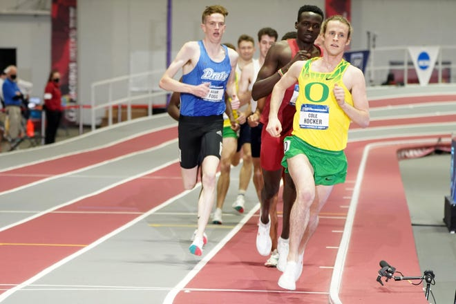 Cole Hocker of Oregon wins the mile in a meet-record 3:53.71 during the NCAA Indoor Track and Field Championships at the Randal Tyson Center.