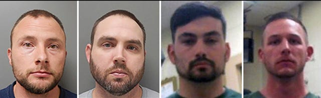 This combination of photos provided by the Ouachita Correctional Center and Franklin Parish Sheriff's Office shows Louisiana State Police Troopers Jacob Brown, left to right, Randall Dickerson, George Harper and Dakota DeMoss.
