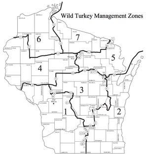 Zonas de manejo de pavos silvestres de Wisconsin.