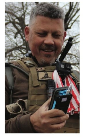 Christopher Worrell of East Naples at the Jan. 6 Capitol riot, a photo included in an FBI statement of facts a federal magistrate signed March 10, 2021.