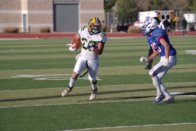 Las Cruces faced Mayfield in a high school football game at Field of Dreams on Saturday, March 13, 2021.