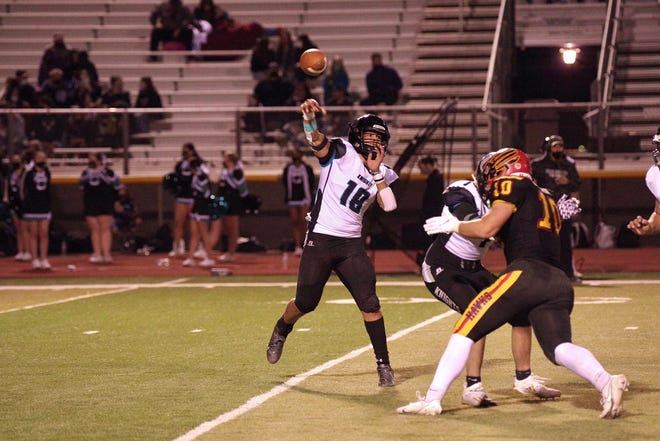 Onate takes on Centennial in a high school football game at Field of Dreams in Las Cruces, N.M., on Friday, March 12, 2021.