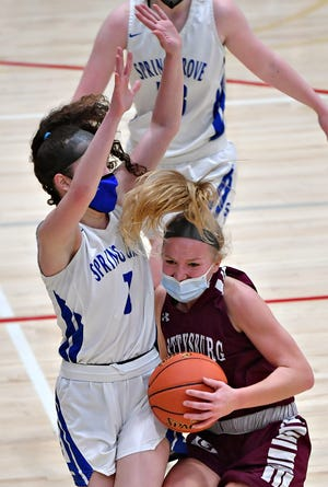 Gettysburg's Anne Bair, right, is an all-state first-team selection in Class 5-A.