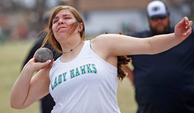 Melanie Dusek competes in the shot put for Wall in the San Angelo Relays on Thursday, March 11, 2021.