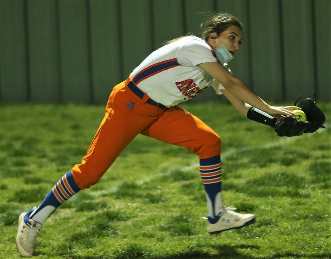 San Angelo Central High School right fielder Natalia Lopez makes a running catch on a fly ball during a District 2-6A game against Odessa High at the Central Softball Complex on Friday, March 12, 2021.