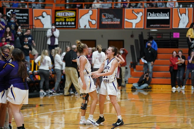 White River celebrates its buzzer-beating victory over Corsica-Stickney in the Class B semifinals on Friday, March 12 in Huron.