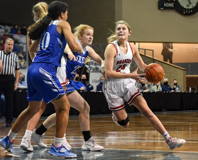 Brandon Valley's Emma Jarovski drives to the basket during the semifinals of the Class AA girls state tournament on Friday, March 12, 2021, at the Sanford Pentagon in Sioux Falls.