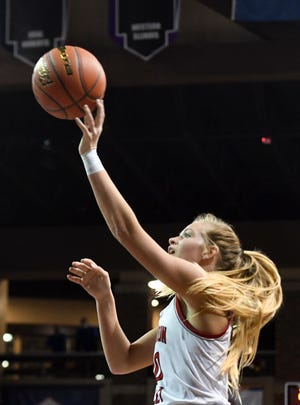 Brandon Valley's Hilary Behrens makes a basket during the semifinals of the Class AA girls state tournament on Friday, March 12, 2021, at the Sanford Pentagon in Sioux Falls.