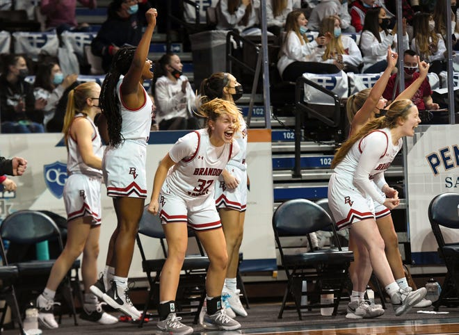 Brandon Valley players cheer from the bench during the semifinals of the Class AA girls state tournament on Friday, March 12, 2021, at the Sanford Pentagon in Sioux Falls.