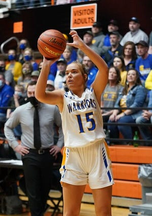 Castlewood's Alayna Benike takes a shot against Ethan on Friday during the Class B girls basketball semifinals in Huron.