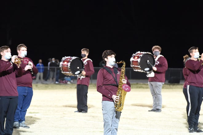 The Draft Express Marching Band performs at halftime of Stuarts Draft's football game Friday, March 12.