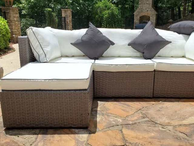 Wayfair Furniture The, Burruss Patio Sectional With Cushions Canada