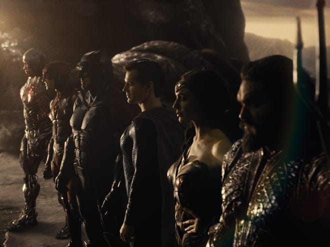 """From left to right: Ray Fisher (Cyborg), Ezra Miller (The Flash), Batman (Ben Affleck), Superman (Henry Cavill), Wonder Woman (Gal Gadot) and Aquaman (Jason Momoa) star in """"Zack Snyder's Justice League."""""""
