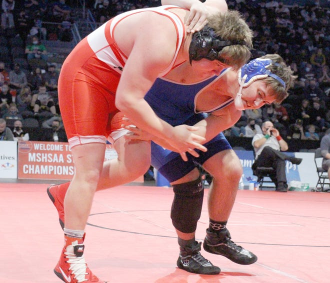Boonville wrestler Peyton Hahn attempts to take down Mexico's Deacon Haag in the quarterfinal round of the state tournament Thursday at Cable Dahmer Arena in Independence. Hahn recorded a second period pin against Haag in a time of 3:52. The junior grappler would go on to finish third in the 220 pound weight class to finish the season at 29-2 overall.