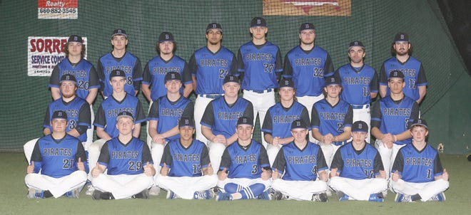 BOONVILLE PIRATES BASEBALL TEAM (front row, left to right) Chandler Stonecipher, Max Eckerle, Caidyn Hazel, Colby Caton, Isaac Marriott, Shane Chamberlain and Cameron Poulsen. (second row, left to right) Harley Waller, Garrett Hundley, Ethan Watson, Connor Rhorer, Peyton Taylor, Cade Schupp and Jamesian McKee. (third row, left to right) Spencer Steakley, Bryce Harris, Axton Nease, Saylor Marquez, Kayle Rice, Lane West, Hunter Pethan and Cody Garner.