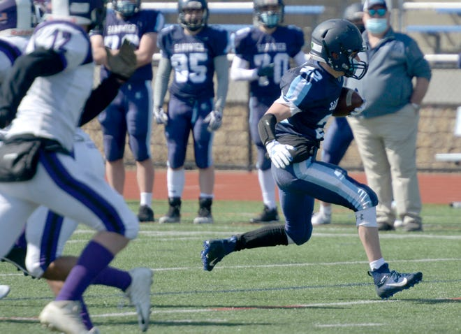 Sandwich's Pat Morin is coming off scoring the game-winning touchdown last week against Martha's Vineyard. He appears here on the right in the Blue Knights' Week 1 game against MV.