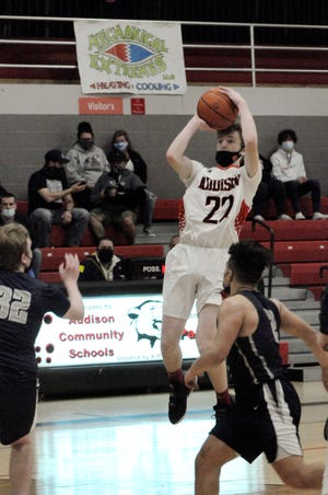 Addison's Spencer Browns shoots during Saturday's game against East Jackson.
