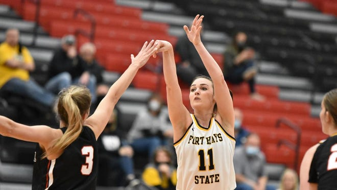 FHSU's Jaden Hobbs shoots a jumper during the Tigers' regional semifinal loss at Central Missouri on Saturday.