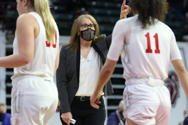Bradley's coach Andrea Gorski gestures during a Missouri Valley Conference semifinal Saturday at TaxSlayer Center in Moline. Bradley won the game, 70-56, to advance to the title game.