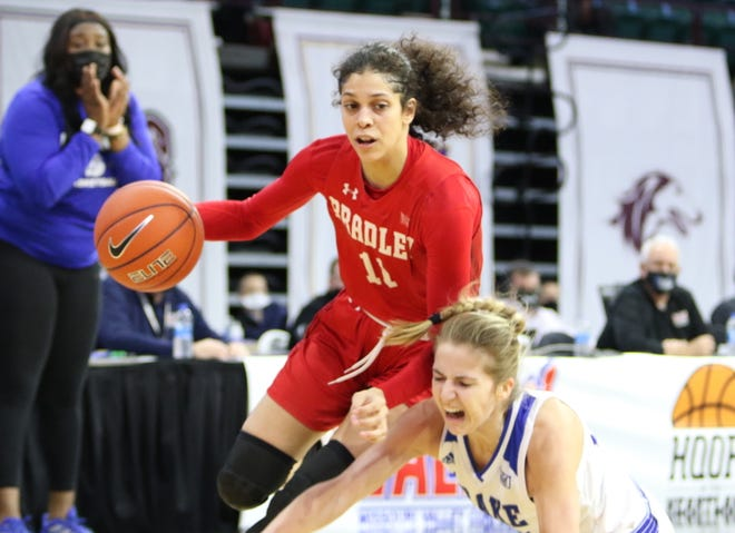 Bradley's Lasha Petree drives with the ball during the championship game of the 2021 Missouri Valley Conference women's basketball tournament Sunday, March 14, 2021, at Taxslayer Center in Moline.