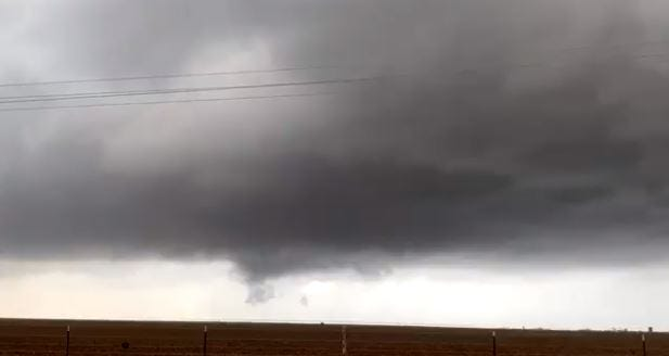 Image captured from West Texas storm chaser Joe Ponce's video of tornadic storm Saturday afternoon near Nazareth, Texas.