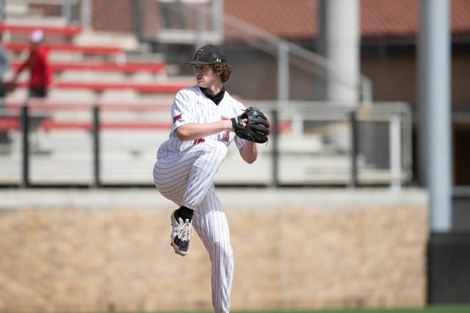 Texas Tech pitcher Mason Montgomery attempts to throw a pitching during a nonconference game Sunday, March 14, 2021, against UConn at Dan Law Field at Rip Griffin Park.