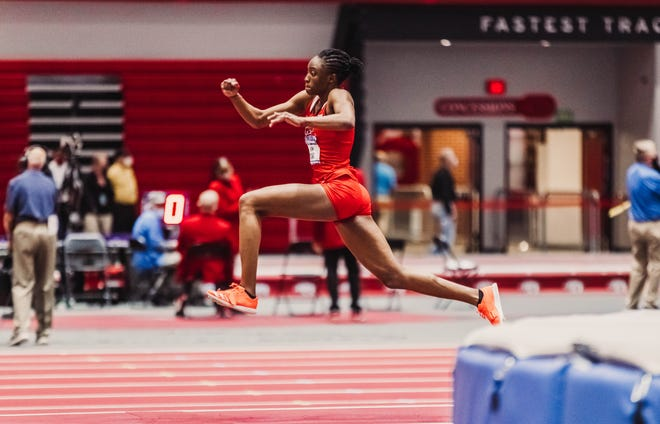 Texas Tech's Ruth Usoro won the NCAA title in the women's triple jump Saturday, matching the NCAA indoor championships meet record with a mark of 46 feet, 10 inches.